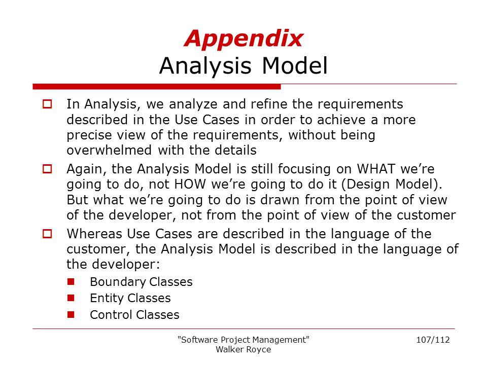 Appendix Analysis Model