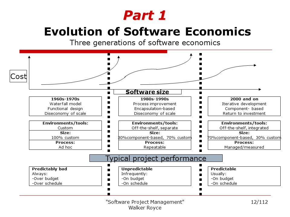Part 1 Evolution of Software Economics Three generations of software economics