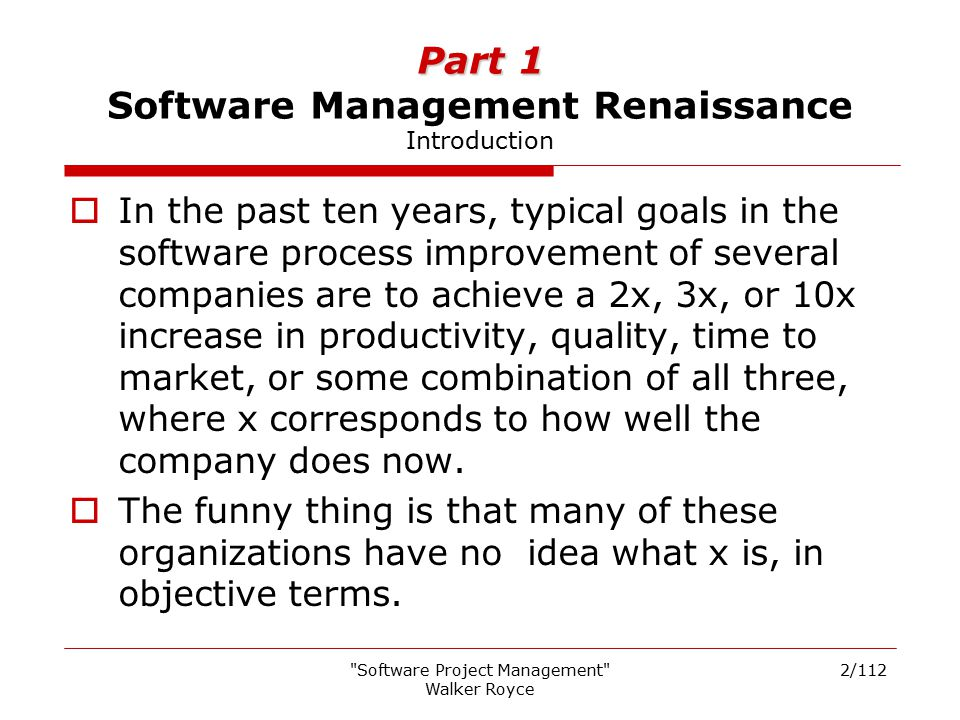Part 1 Software Management Renaissance Introduction