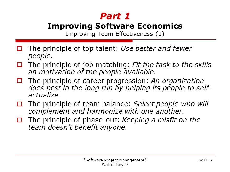 Part 1 Improving Software Economics Improving Team Effectiveness (1)