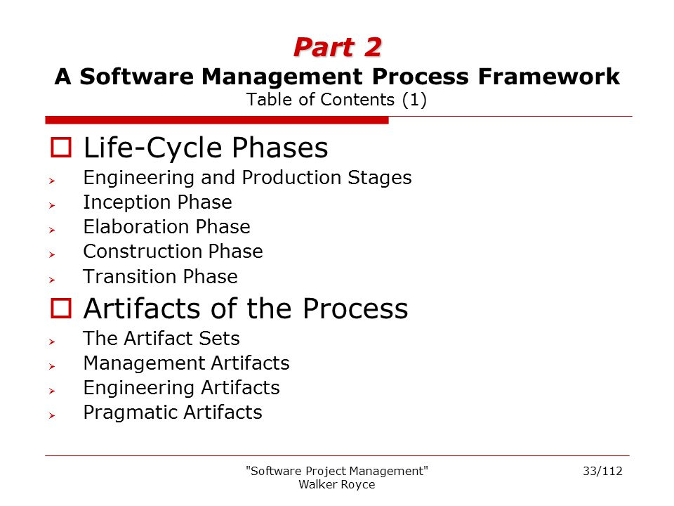 Part 2 A Software Management Process Framework Table of Contents (1)