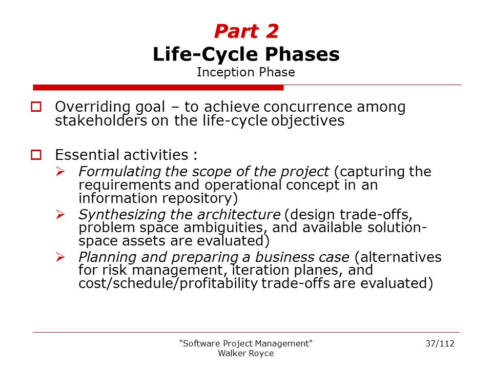 Part 2 Life-Cycle Phases Inception Phase