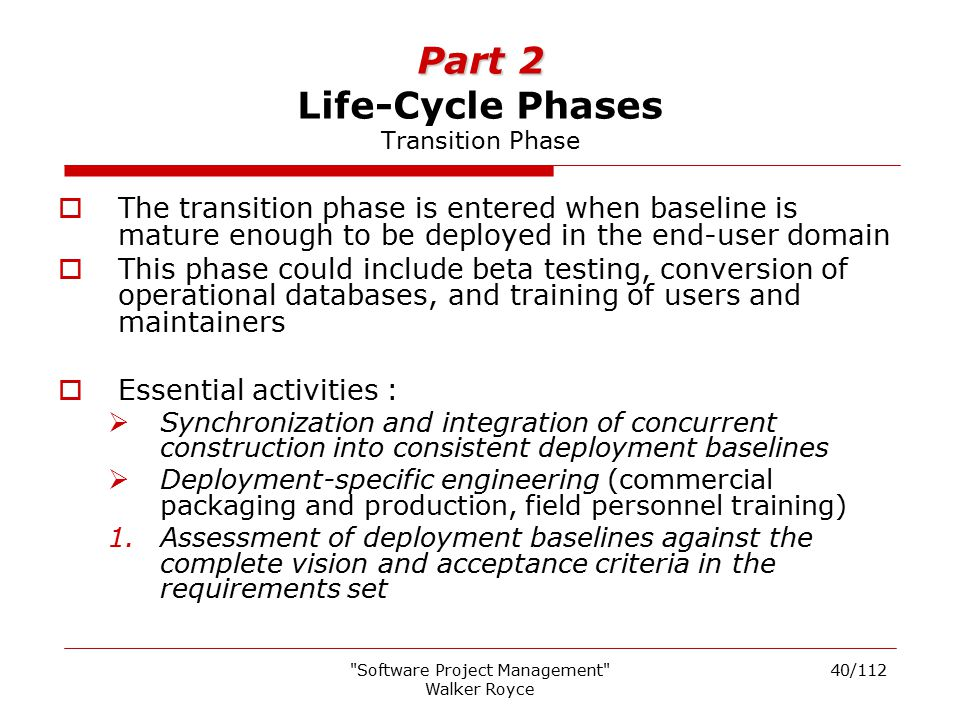 Part 2 Life-Cycle Phases Transition Phase