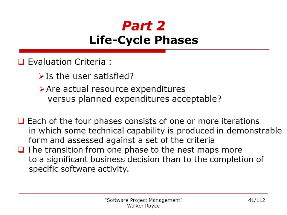 Part 2 Life-Cycle Phases