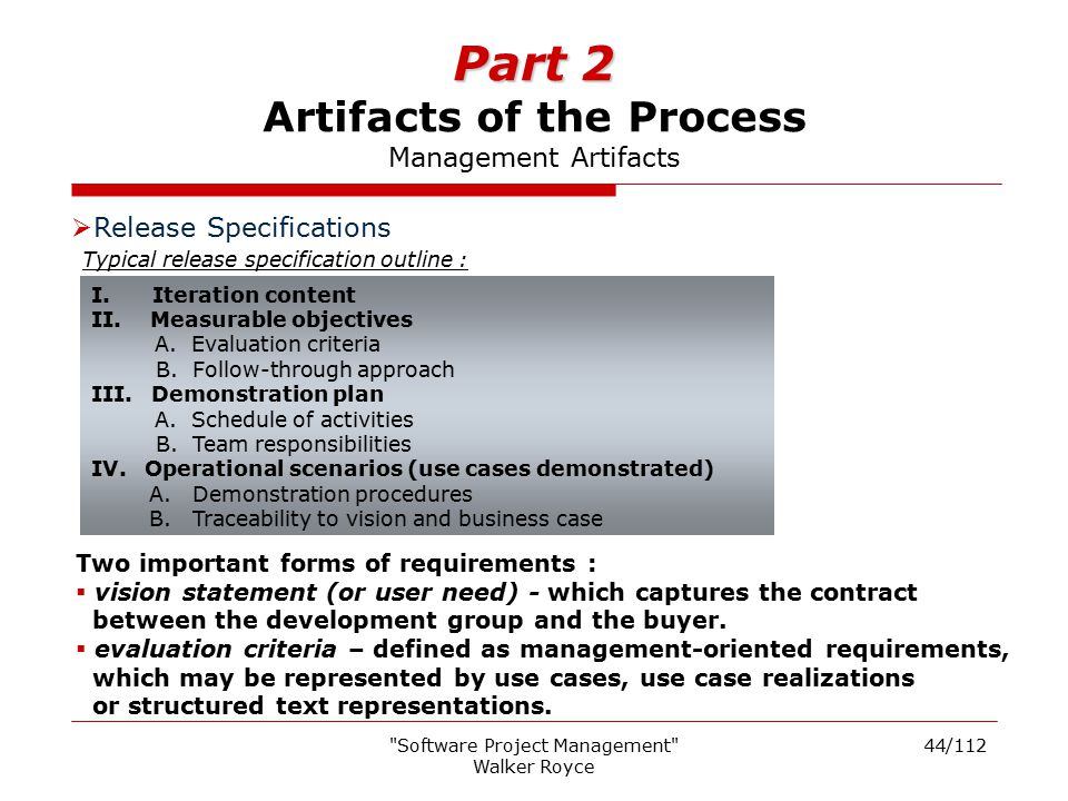 Part 2 Artifacts of the Process Management Artifacts