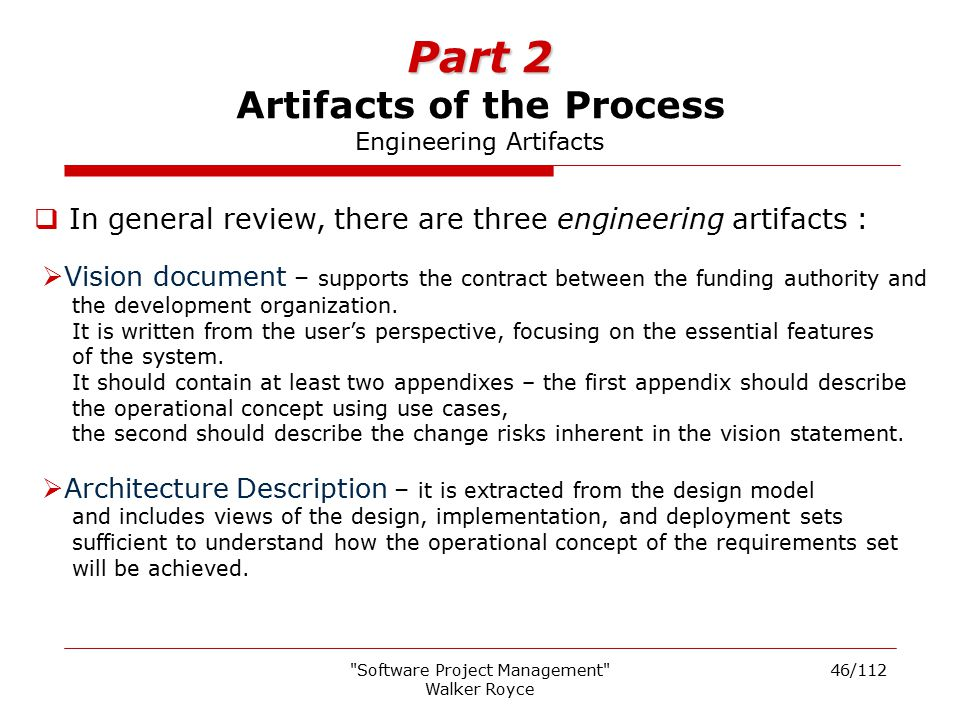Part 2 Artifacts of the Process Engineering Artifacts