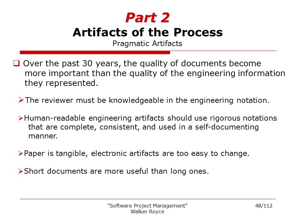 Part 2 Artifacts of the Process Pragmatic Artifacts