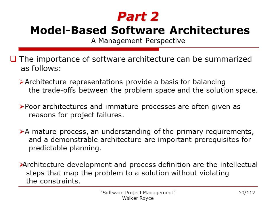 Part 2 Model-Based Software Architectures A Management Perspective