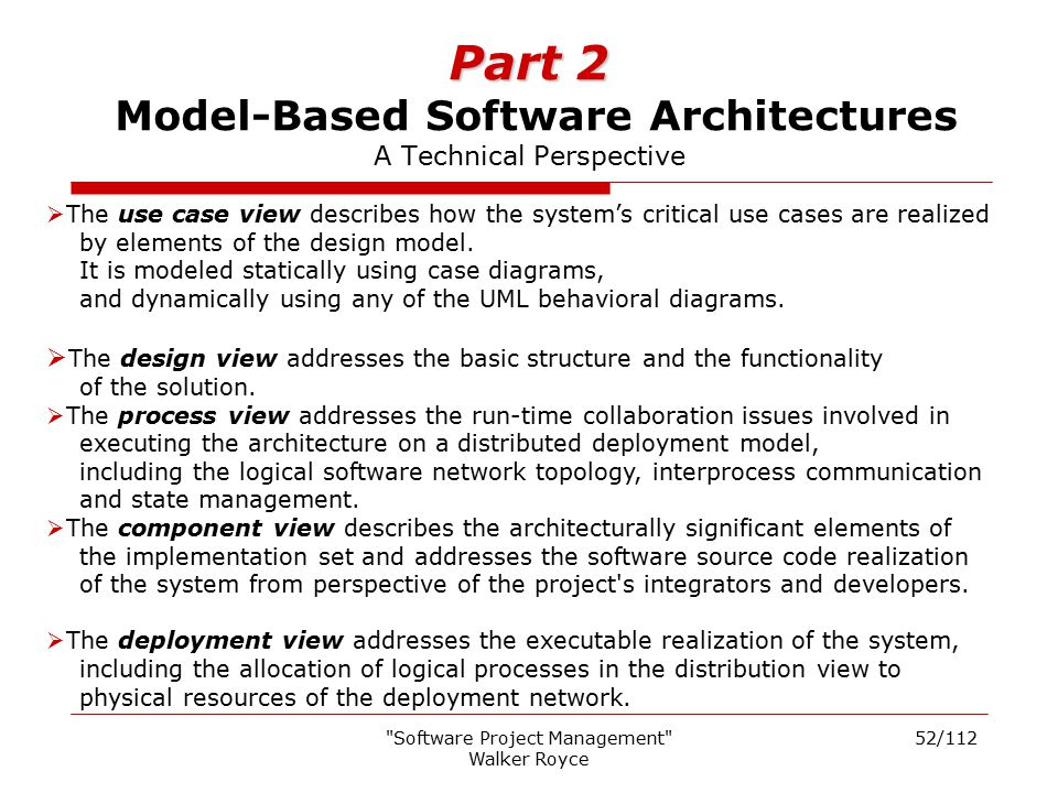 Part 2 Model-Based Software Architectures A Technical Perspective