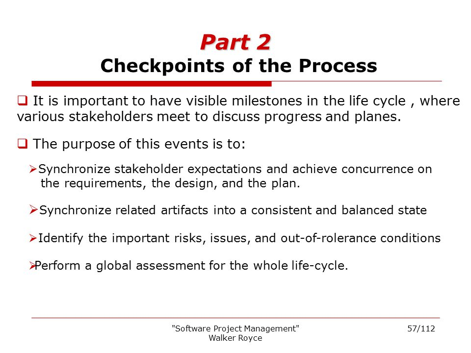 Part 2 Checkpoints of the Process