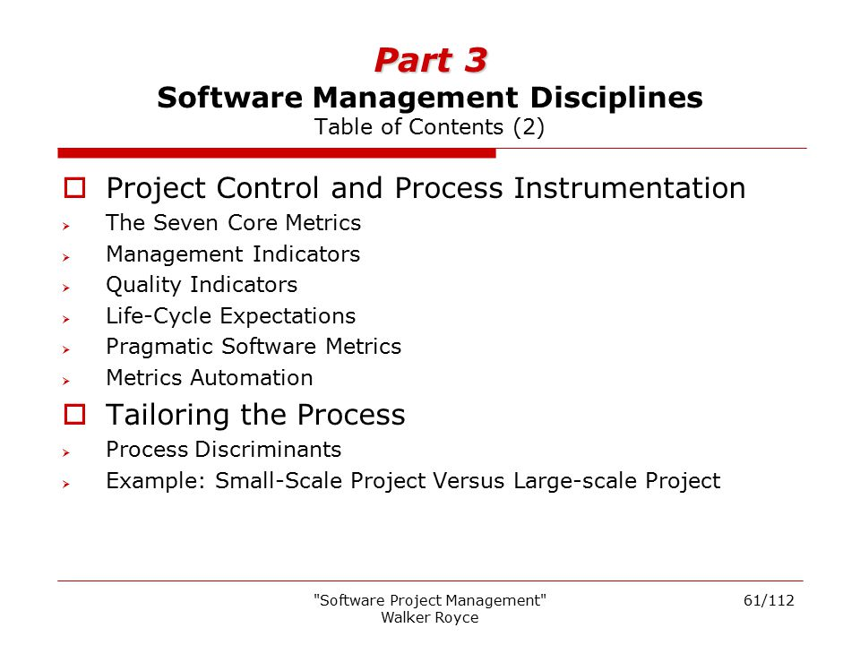 Part 3 Software Management Disciplines Table of Contents (2)