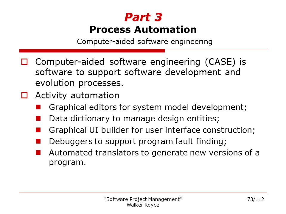 Part 3 Process Automation Computer-aided software engineering
