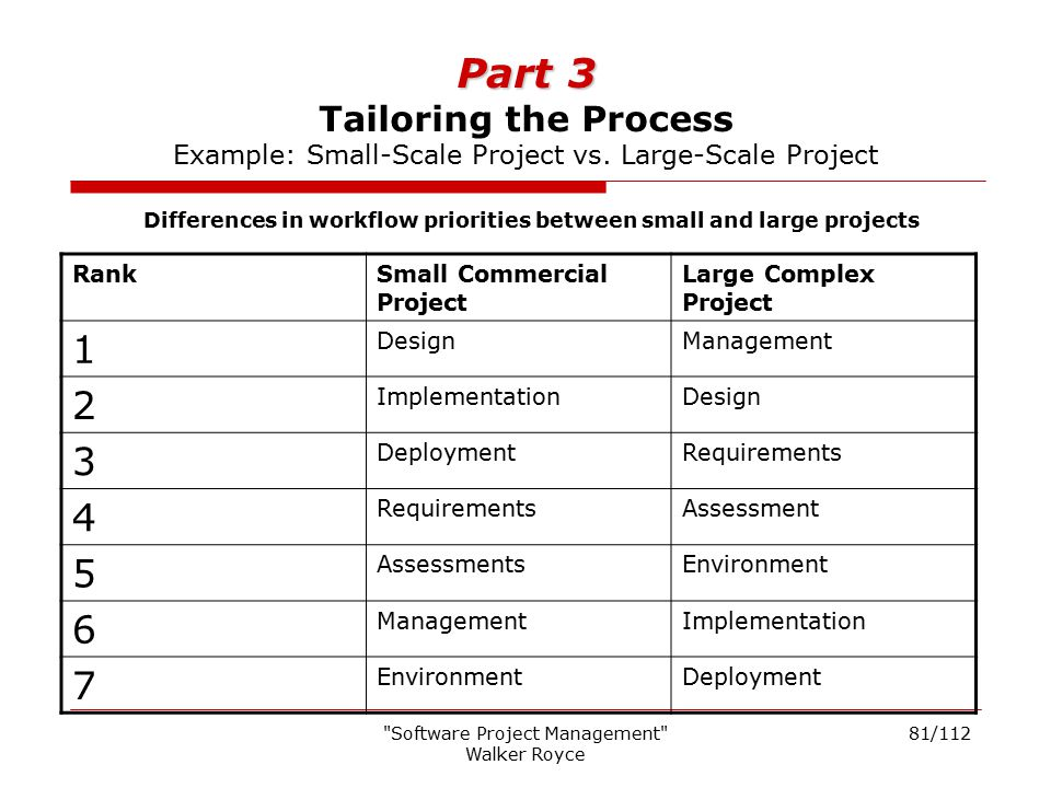 Differences in workflow priorities between small and large projects
