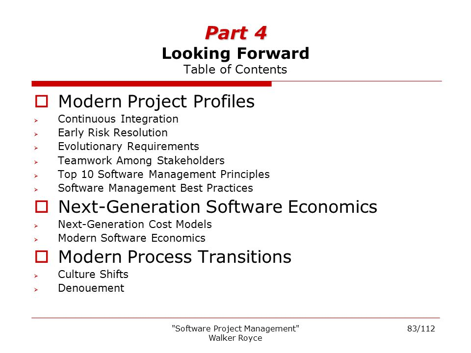Part 4 Looking Forward Table of Contents