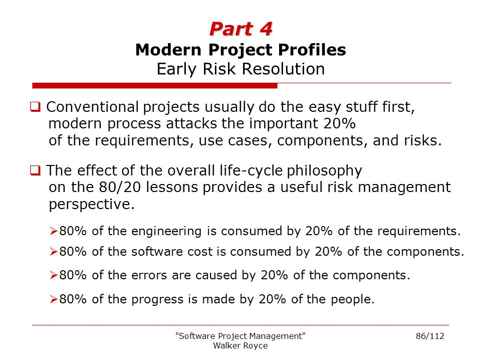 Part 4 Modern Project Profiles Early Risk Resolution
