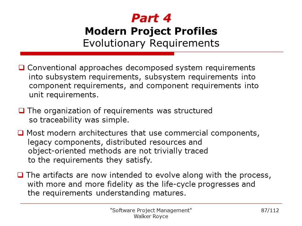 Part 4 Modern Project Profiles Evolutionary Requirements