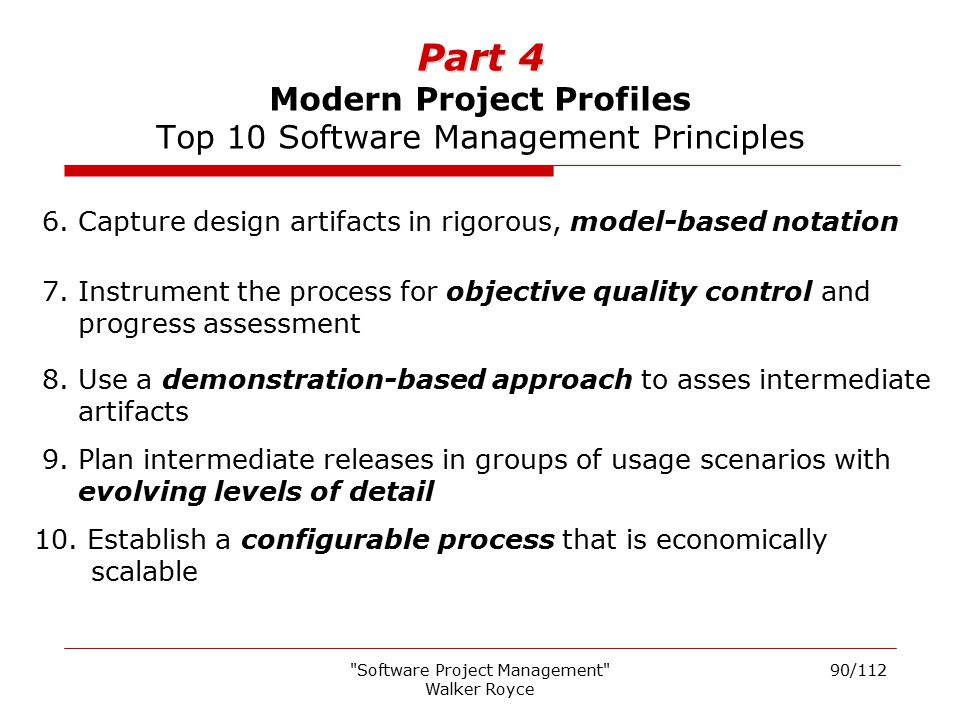 Part 4 Modern Project Profiles Top 10 Software Management Principles