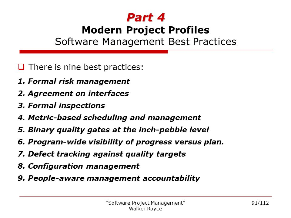 Part 4 Modern Project Profiles Software Management Best Practices