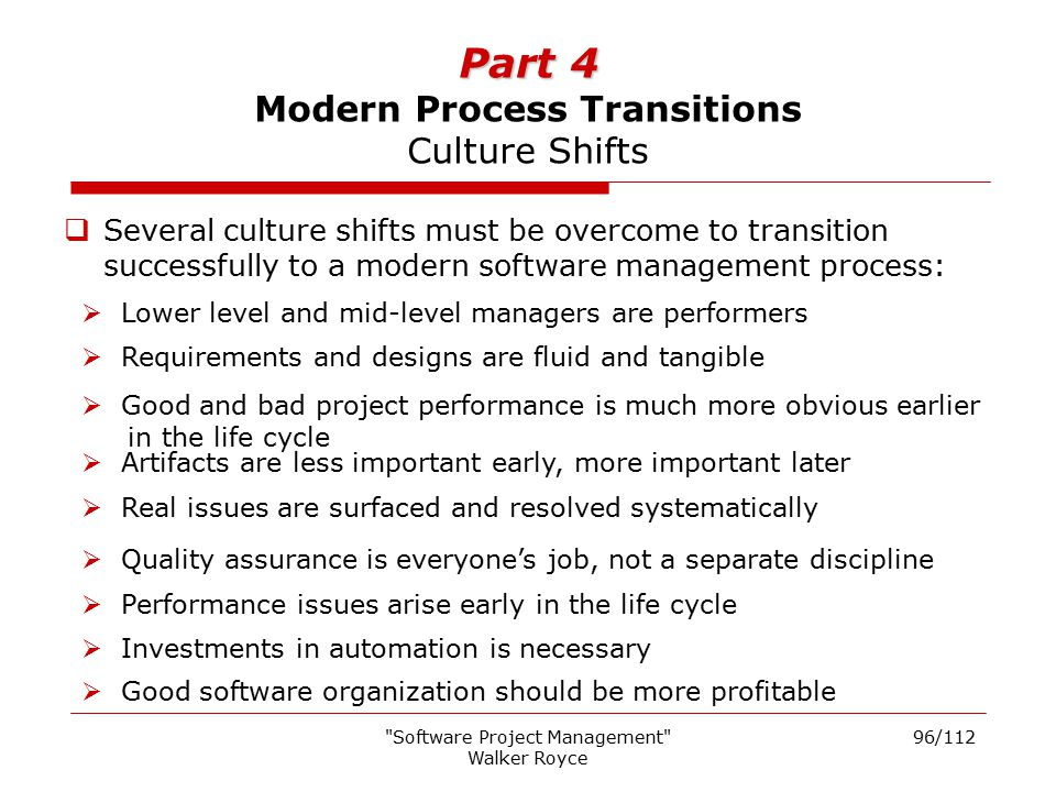 Part 4 Modern Process Transitions Culture Shifts