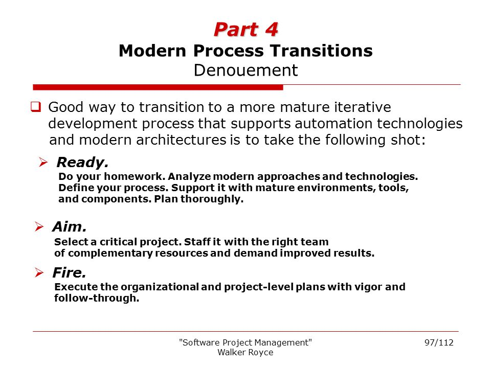 Part 4 Modern Process Transitions Denouement