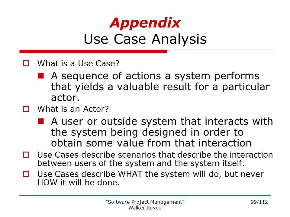 Appendix Use Case Analysis