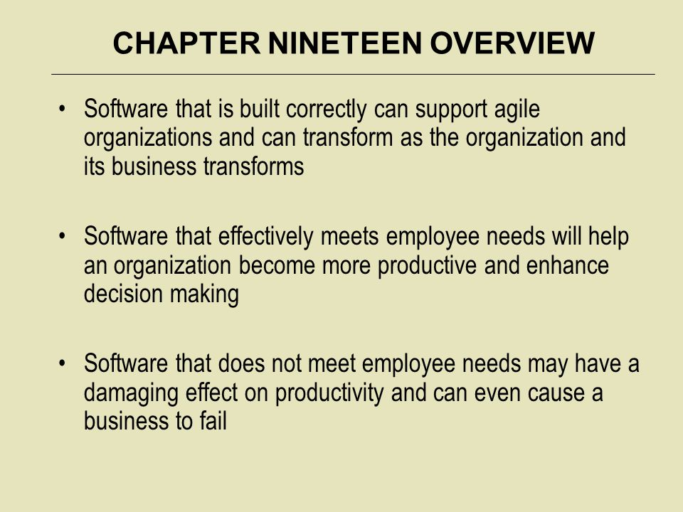 CHAPTER NINETEEN OVERVIEW