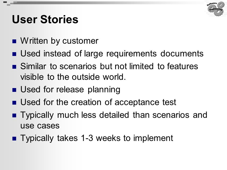 User Stories Written by customer