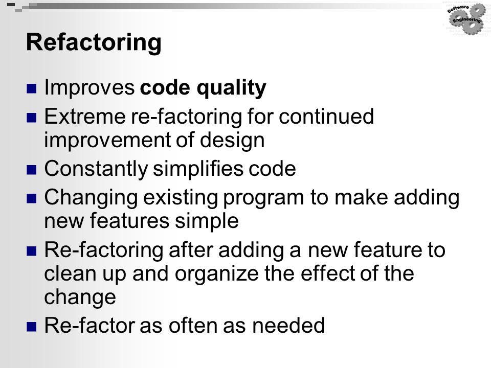 Refactoring Improves code quality