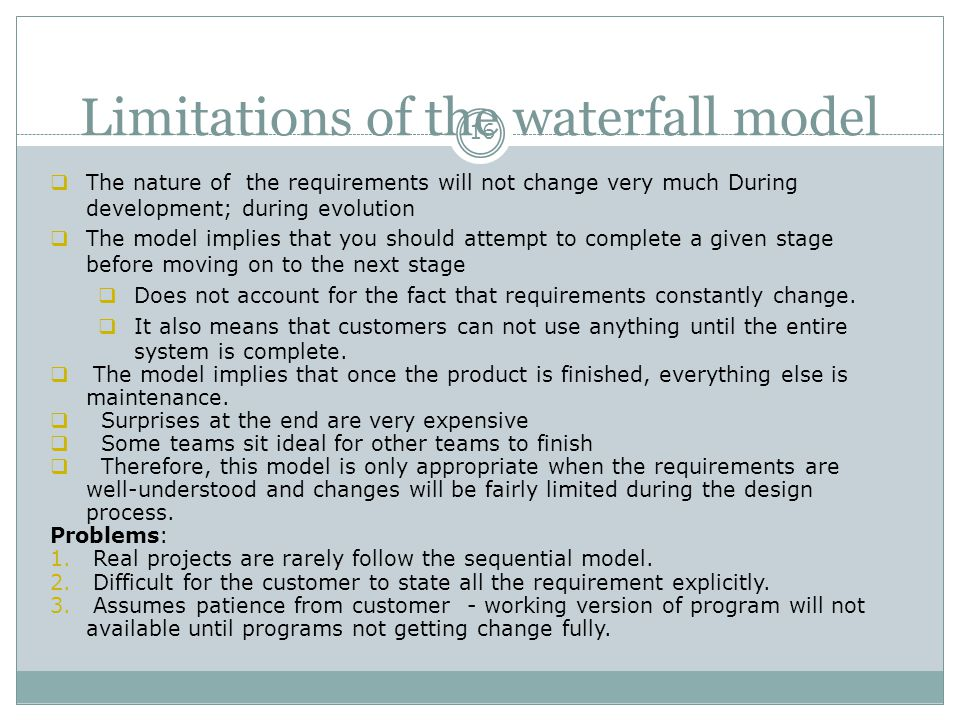 Limitations of the waterfall model