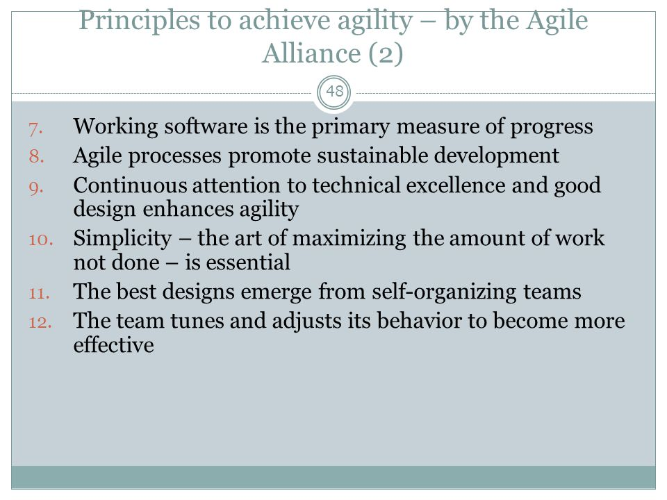 Principles to achieve agility – by the Agile Alliance (2)