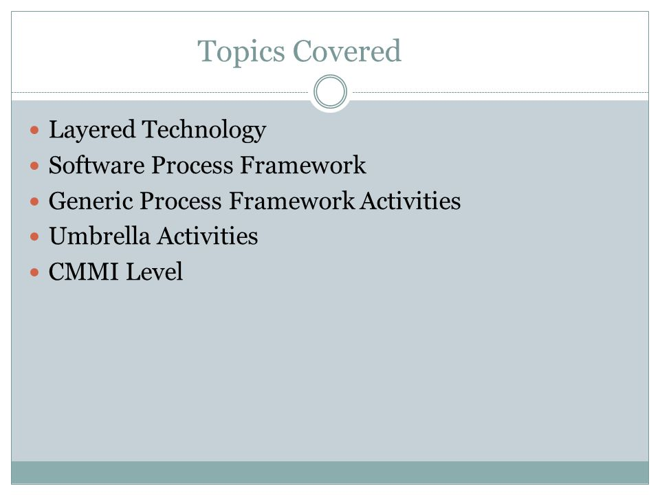 Topics Covered Layered Technology Software Process Framework