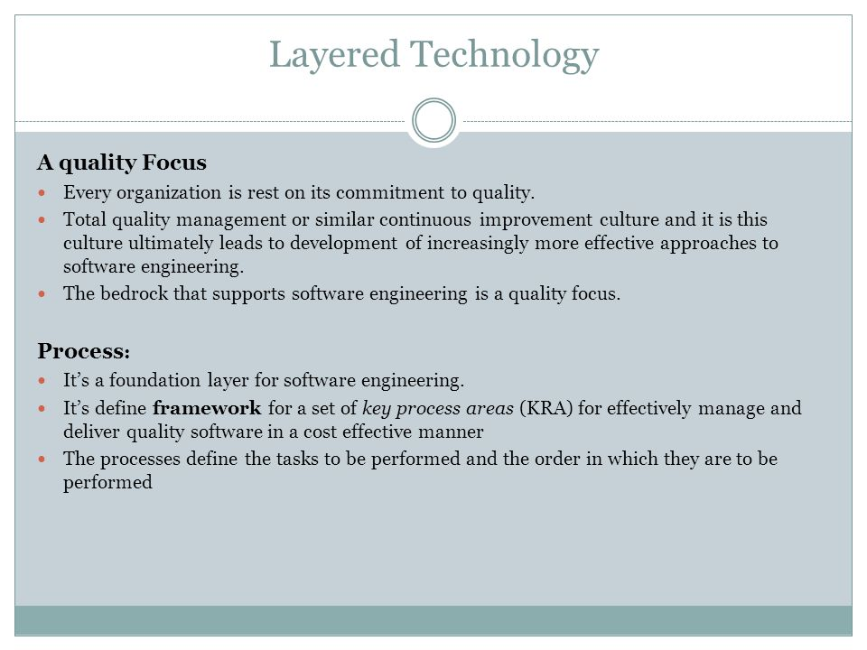 Layered Technology A quality Focus Process: