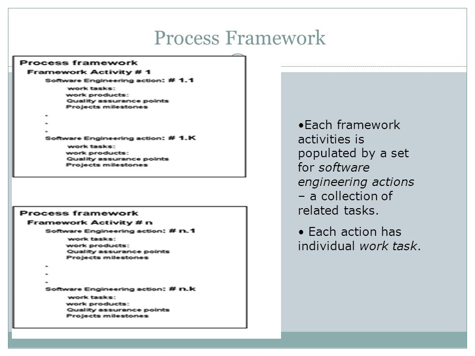Process Framework Each framework activities is populated by a set for software engineering actions – a collection of related tasks.