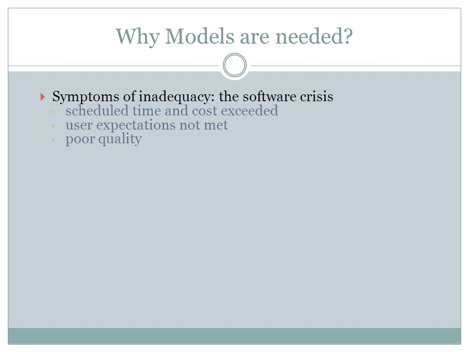 Why Models are needed Symptoms of inadequacy: the software crisis
