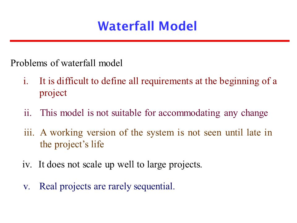 Waterfall Model Problems of waterfall model