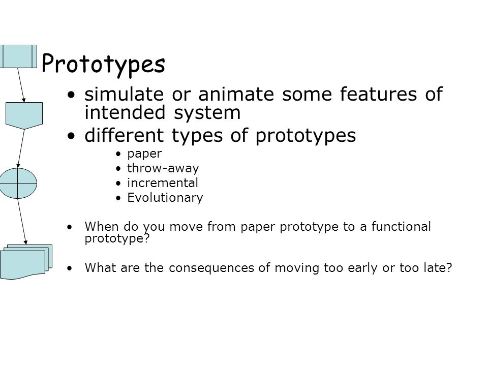 Prototypes simulate or animate some features of intended system