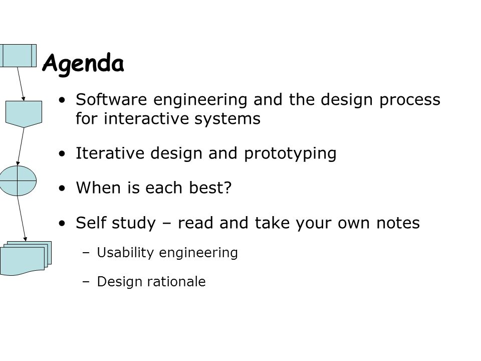 Agenda Software engineering and the design process for interactive systems. Iterative design and prototyping.