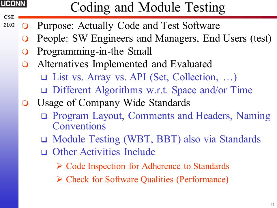 Coding and Module Testing