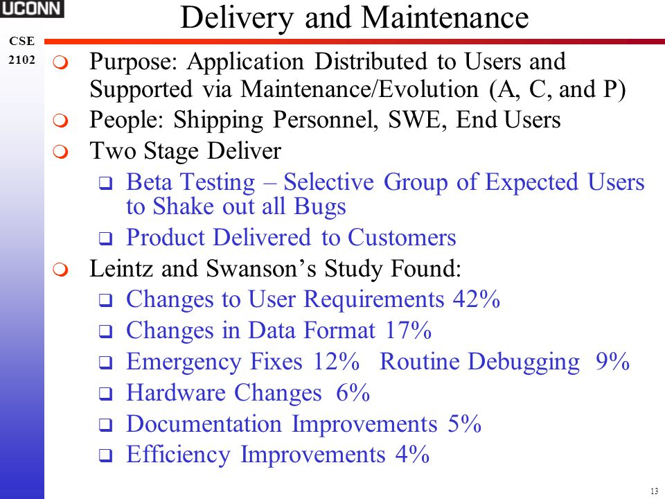 Delivery and Maintenance