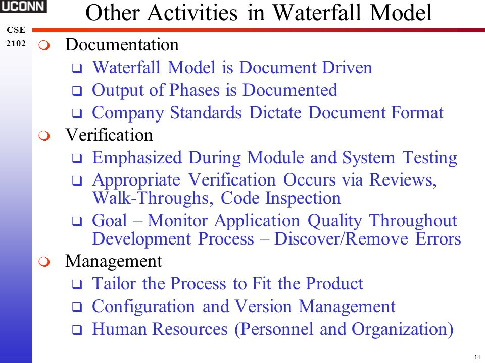 Other Activities in Waterfall Model