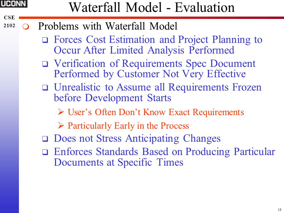 Waterfall Model - Evaluation
