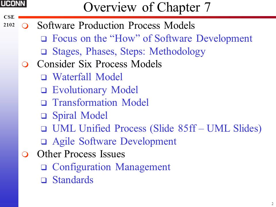 Overview of Chapter 7 Software Production Process Models
