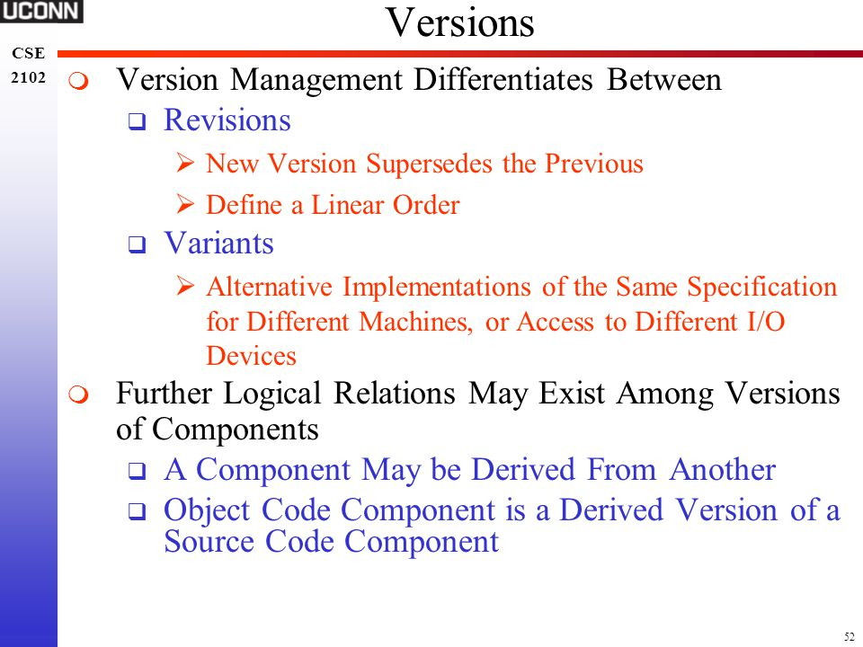 Versions Version Management Differentiates Between Revisions Variants