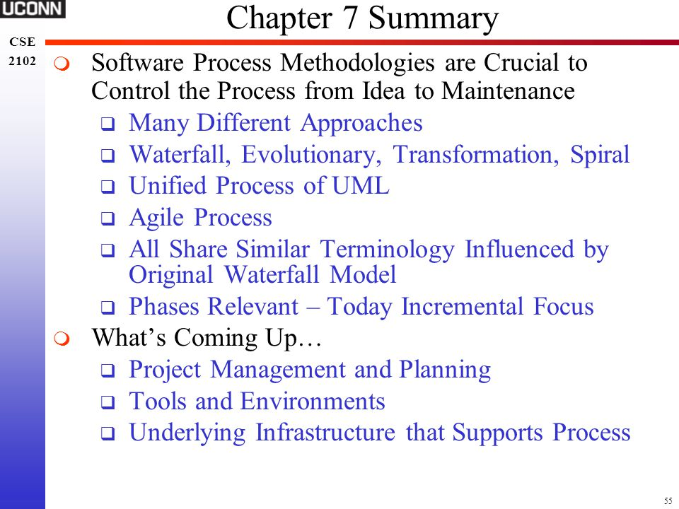 Chapter 7 Summary Software Process Methodologies are Crucial to Control the Process from Idea to Maintenance.