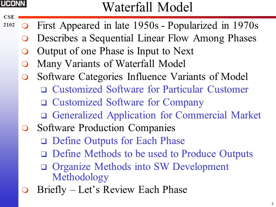 Waterfall Model First Appeared in late 1950s - Popularized in 1970s
