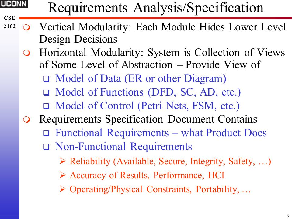 Requirements Analysis/Specification