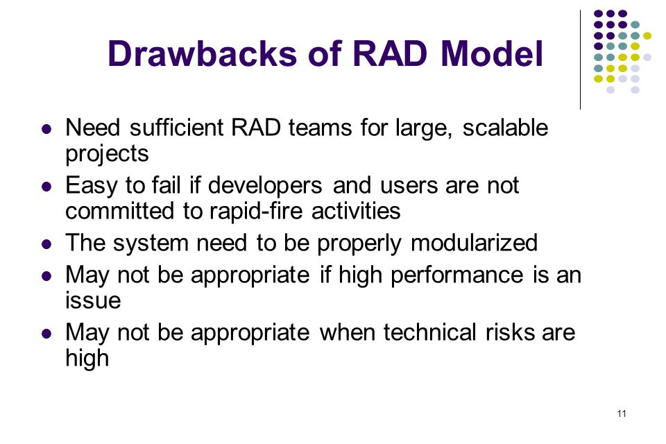 Drawbacks of RAD Model Need sufficient RAD teams for large, scalable projects.