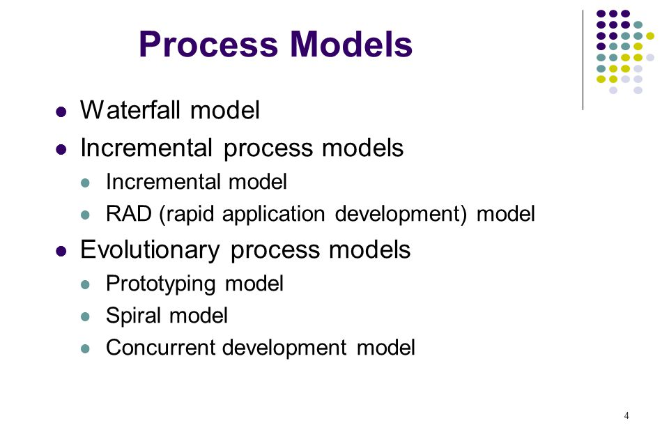 Process Models Waterfall model Incremental process models