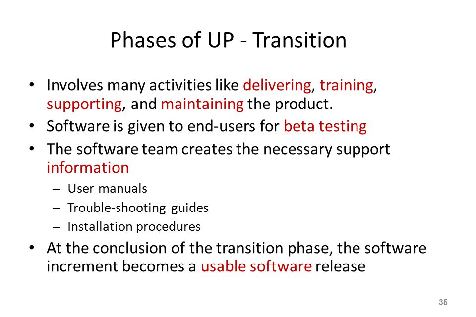 Phases of UP - Transition