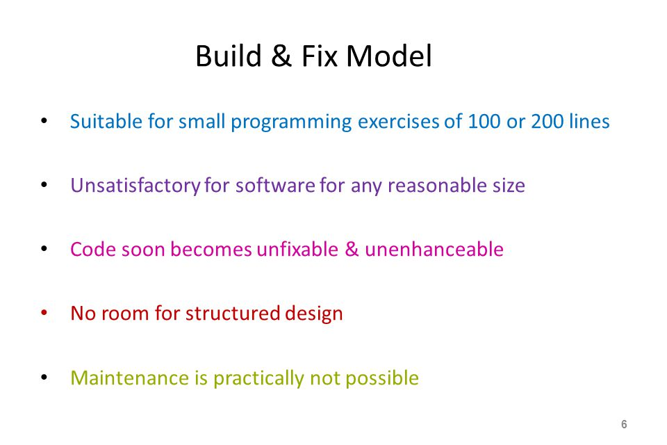 Build & Fix Model Suitable for small programming exercises of 100 or 200 lines. Unsatisfactory for software for any reasonable size.